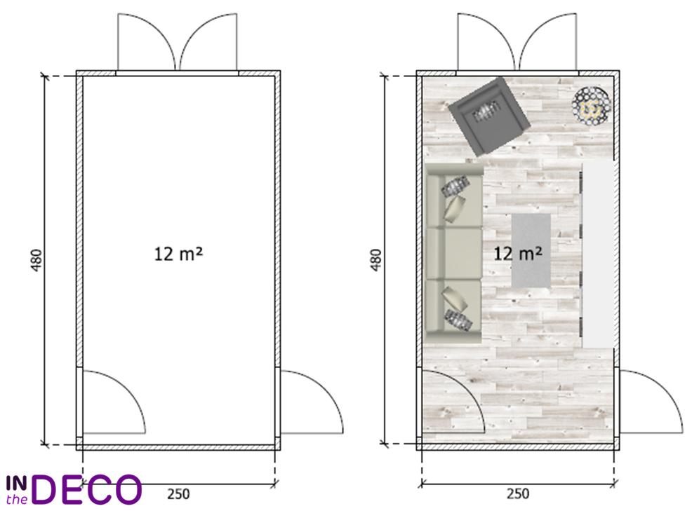 salon en longueur 12m²