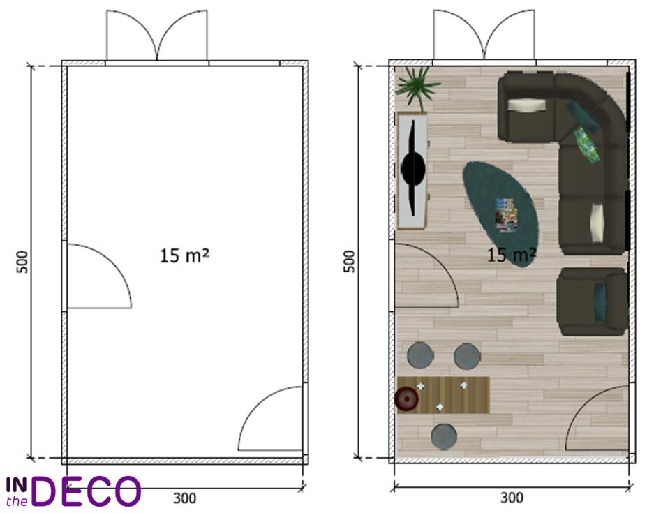salon en longueur 15m²