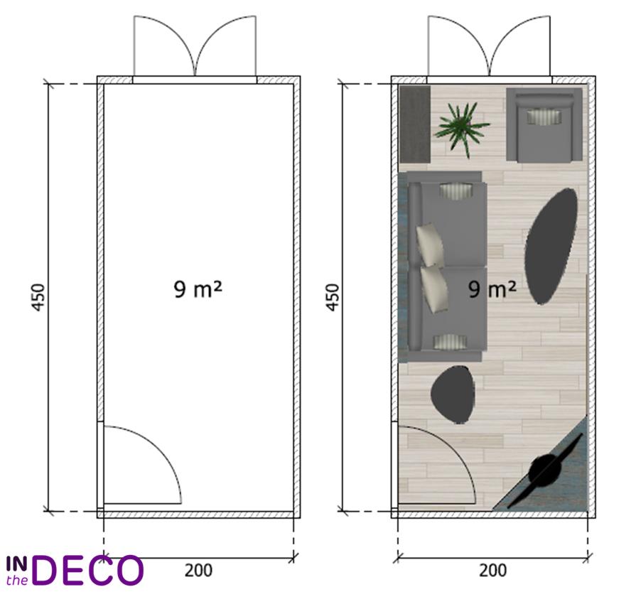 salon en longueur 9m²