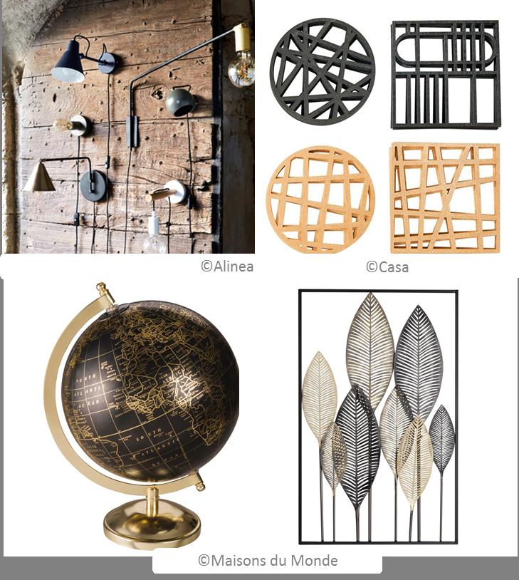 objets noir et doré tendance 2019