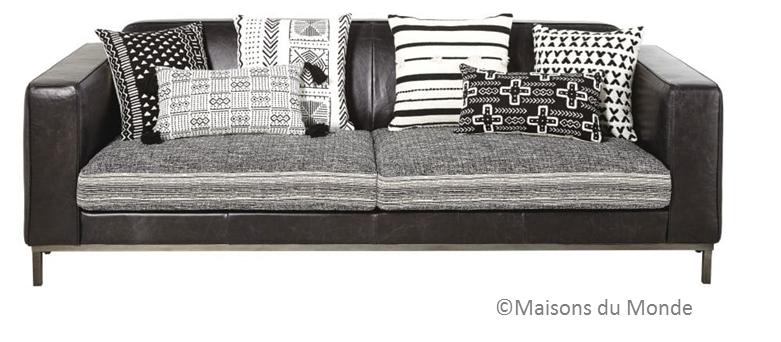 canapé noir blanc et gris maisons du monde